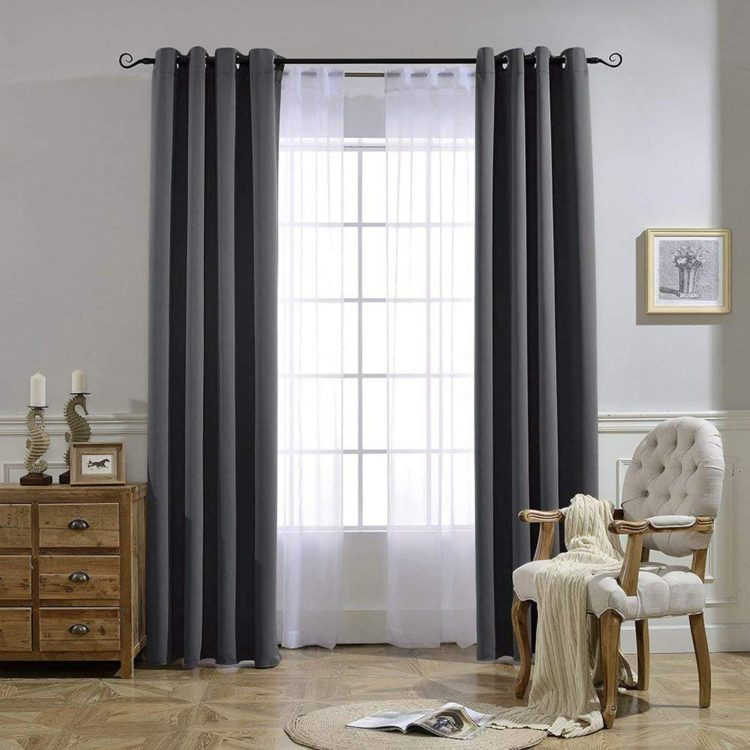NICETOWN Blackout Curtains Panels for Bedroom - Three Pass Microfiber Noise Reducing Thermal Insulated Solid Ring Top Blackout Window Dra