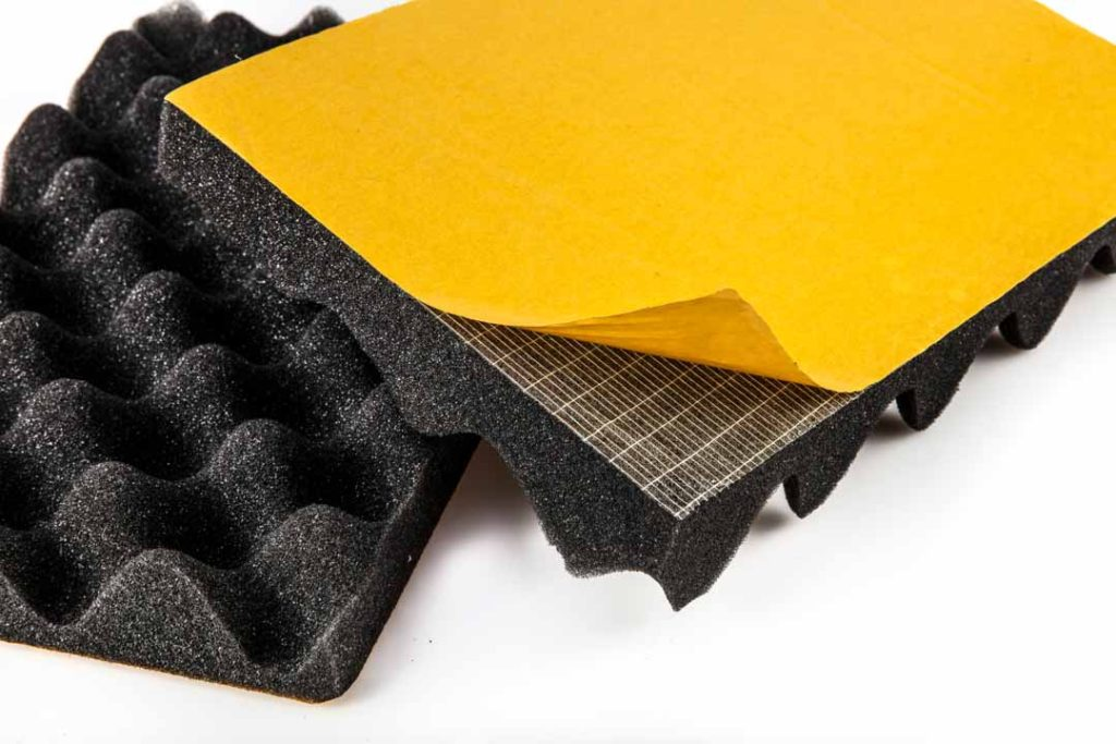 Installation of acoustic foam panels and blankets